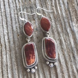 Navajo Sterling Spiny Oyster Dangle Earrings